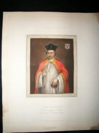 Ackermann History of Oxford 1815 Hand Col Portrait. Robert Egglesfield